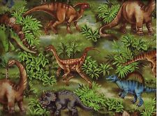 BTY DINOS DINOSAURS on Green Print 100% Cotton Quilt Crafting Fabric by Yard