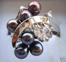 Fashion Natural 6-7mm Black Freshwater Pearl Clear Crystal Silver Ring