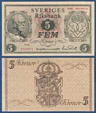 SCHWEDEN / SWEDEN 5 Kronor 1948 aUNC  P.41