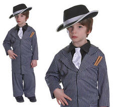 Childrens Gangster Pinstripe Fancy Dress Costume Suit Bugsy Malone S