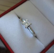LOVELY IKS 14K WG .25 CT PRINCESS CUT DIAMOND SOLITAIRE ENGAGEMENT RING - 3 GRAM