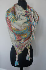 "NEW Johnny Was Silk Floral Large 43"" Square Endo Tassel Scarf Wrap Shawl SOFT"
