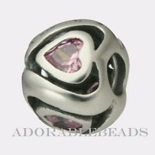 Authentic Chamilia Silver Mother's Heart Pink CZ Bead JB-7A *RETIRED*