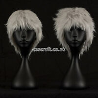 Short layered fluffy spikeable cosplay wig in misty white, UK seller, Jack style