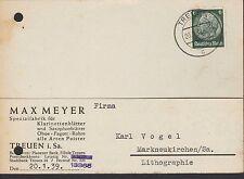 TREUEN, Postkarte 1939, Max Meyer Spazialfabrik Klarinetten-Saxofon-Blätter