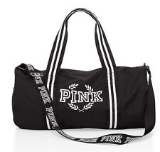New Victoria's Secret PINK Gym Duffle Tote Bag Pure Black White Logo Stripe NWT