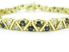 14k Solid Yellow Gold Round Diamond & Blue Sapphire Unique Tennis Bracelet Gift