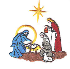 CHRISTMAS - NATIVITY SCENE w/GOLD STAR/Iron On Embroidered Applique/Religious