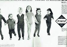 PUBLICITE ADVERTISING 116  1962  les vetements enfants ( 2p) Dropnyl Helanca