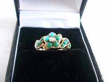 EARLY VICTORIAN 9 CARAT GOLD  TURQUOISE AND SEED PEARL LOCKET RING GLASS INTACT