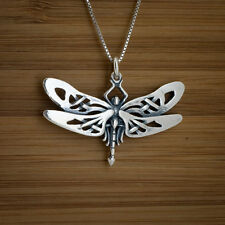 925 Sterling Silver Celtic Dragonfly Dragon Fly Pendant + FREE Cable Chain