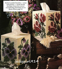 """""""ROSES AND PANSIES TISSUE BOX COVERS""""~Plastic Canvas PATTERN ONLY~SEE PICS"""