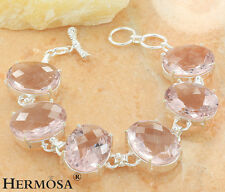 75% OFF PINK TOPAZ KUNZITE JEWELRY 925 Sterling Silver Chain HOT Bracelet 8.25""