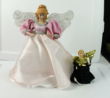 "Lot of Christmas Decorations Tree Toppers Small & Large Angels In Dresses 12"" 6"""
