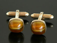 Vtg Kreisler Cufflinks Gold 2-Tone Brown Cabochon Bling Hipster Tigers Eye