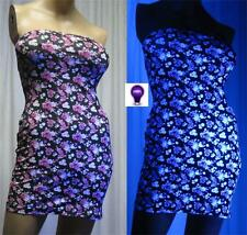Tube Dress 3X Floral Neon Blacklight Glow Strapless Mini Top Tunic Made USA