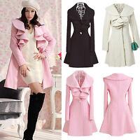 Fashion Womens Slim Cashmere Wool Parka Winter Long Coat Jacket Trench Outwear