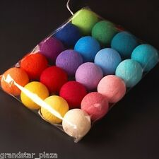20 COTTON BALL STRING LIGHTS RAINBOW BEDROOM CHRISTMAS PATIO PARTY FAIRY DECOR