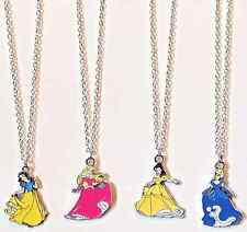 New 4pcs Girl's Disney Princess Pendant Charm Necklaces Kid's Jewelry w/Gift Box