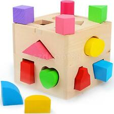 Wooden Block Sorter Box Baby Toddler Preschool Kids Color Shape Learning Toy