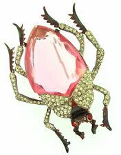 Rare 1942 Katz CORO CRAFT Sterling Rhinestone Pink Figural Beetle Bug Pin Brooch