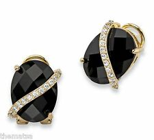 14K GOLD BLACK ONYX PAVE CZ GP DROP EARRINGS