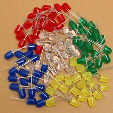 100 x 10mm Red Yellow Blue Green White Diffused Bright 5K MCD LED Leds Light + R