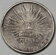 """1900 MEXICO Republic Zs FZ """"CAP AND RAYS"""" 1 Peso Silver Coin XF with Toning"""