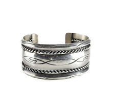 Navajo Sterling Silver Rope Cuff Bracelet Marked GKW Hand chased designs c1950
