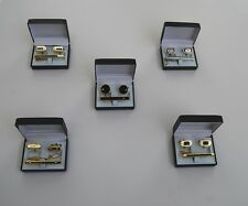 Lot of 5 men's cuff links and tie clips sets wedding favors gifts popular styles