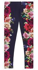 New Designer Ted Baker Girls Navy Floral Rose Printed Party Leggings 8-9 Years