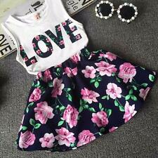 Girls Love Letters Floral Printed Sleeveless Vest + Floral Skirt Set Clothes 140