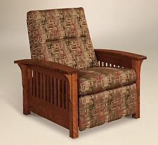 Amish Mission Arts and Crafts Recliner Chair Skyline Slat Solid Wood Upholstery