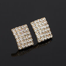 Gemma  Diamond Square Stud Earrings Beautiful Gold Plated Gift Party
