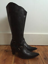 LAVORAZIONE ARTIGIANA LADIES BLACK LEATHER KNEE HIGH BOOTS UK4