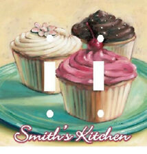 PERSONALIZED PASTEL CUPCAKES KITCHEN DOUBLE LIGHT SWITCH PLATE COVER