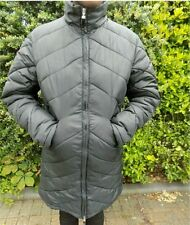 Black waterproof puffy parka long length winter jacket. Optional hood.