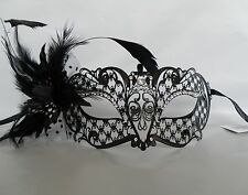 Black Metal Filigree Masquerade Mask Feathered Flower *NEW* Express Post Option