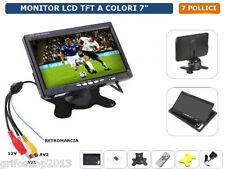 """MONITOR LCD TFT 7"""" POLLICI CON TELECOMANDO DOPPIO INGRESSO VIDEO RETROMARCIA AV"""