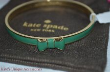 Kate Spade Take A bow gold & Emerald Bangle Bracelet NWT Valentine Gift Idea NWT