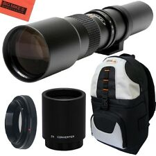 500mm 1000mm f/8 Telephoto Lens + BackPack for Nikon D3000, D3100, D3200, D3300