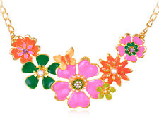Painted Spring Floral Flower Gold Tone Big Bib Garden Collar Faux Pearl Necklace