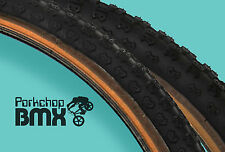 "Kenda Comp 3 old school BMX skinwall gumwall tires 24"" STAGGERED BLACK (PAIR)"