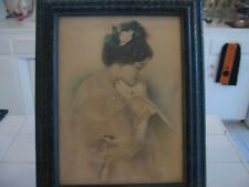 Beautiful Antique Vintage Litho Watercolor Print Lady Woman With Dove