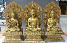 "13"" China Tibet Bronze Temple Western Shakyamuni Kwan-yin God Buddha Set Statue"