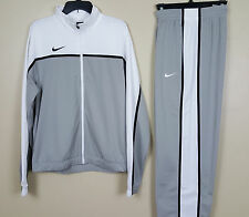 NEW! NIKE DRI FIT BASKETBALL WARM UP SUIT JACKET + PANTS WHITE GREY (SZ X-SMALL)