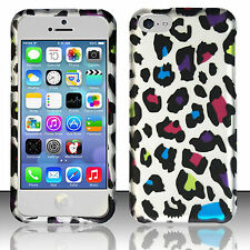 Apple iPhone 5C Rubberized HARD Protector Case Snap Phone Cover Rainbow Leopard