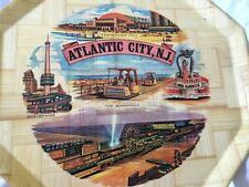 Vintage Atlantic City New Jersey Souvenir Woven  Bamboo Serving Tray Octagon MCM