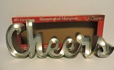 "Metal LED Light Up CHEERS Marquee Sign Illuminated Timer Lights Indoor 21x8"" NIB"