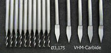 1 SET  VHM Gravierstichel Fräser Ø 3,2 engraving bit end mill solide carbide AE